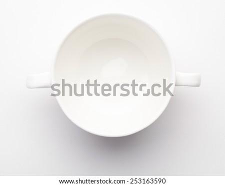 White soup mug on white background - stock photo