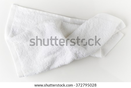 White spa towel, top view
