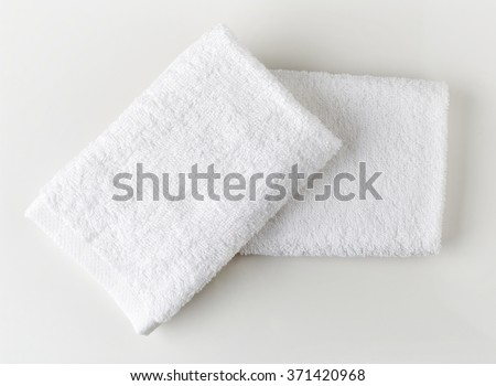 White spa towels, top view - stock photo