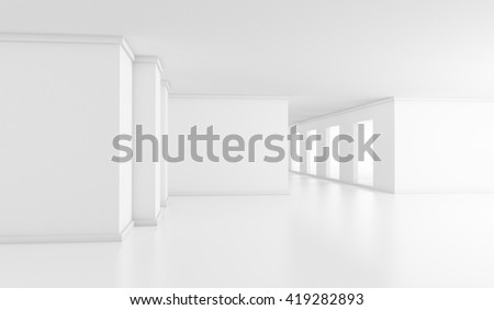 white space, 3d illustration, empty bright office