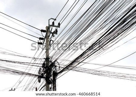 White space isolated background of Tangle wire on road, wire in thailand electrical energy at walking streets side sky background