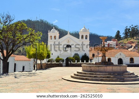 White Spanish colonial architecture in the small town Sucre, Bolivia - stock photo