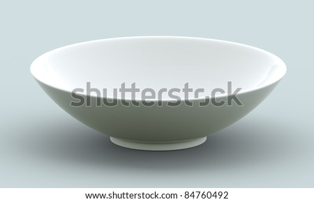 White Sphere Bowl top view on background. Isolated 3d model - stock photo