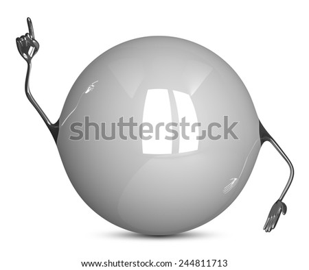 White sphere character in moment of insight isolated