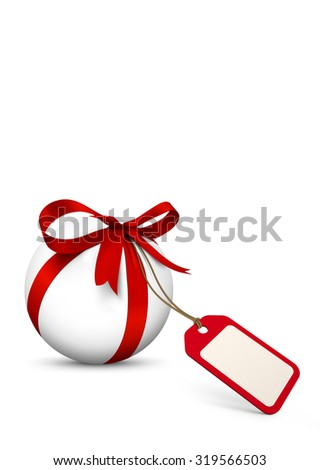 White Sphere with Red Bow and Blank Gift Coupon - Isolated on White Background with Free Space for Advertising. Price Label, Bonus, Gift Voucher for Holiday Season.