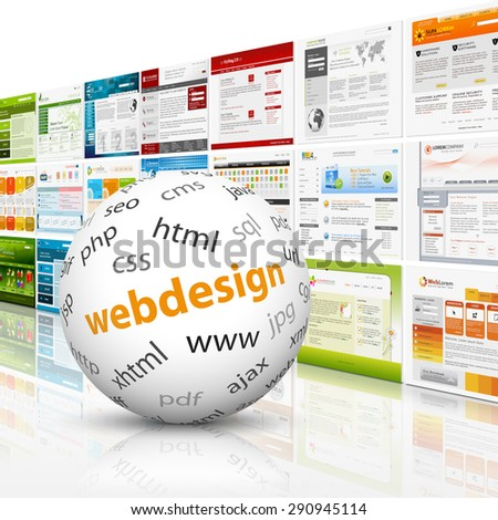 White sphere with web design textimprint in front of a template wall. HTML, CSS, PHP, SEO. - stock photo