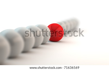 white spheres in row and red unique ball - stock photo