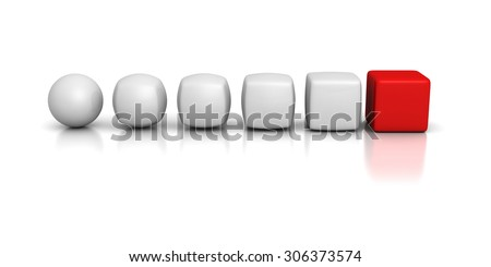 White Spheres Team Transforms To Cubes With Red Leader. 3d Render Illustration - stock photo