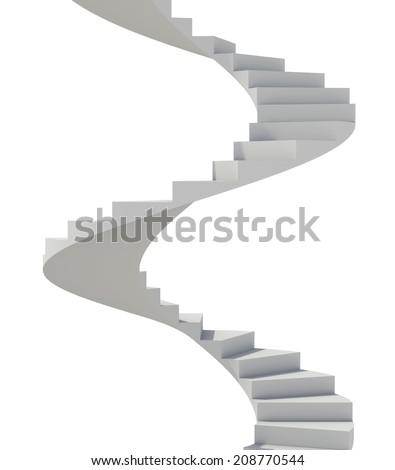 White spiral staircase - stock photo