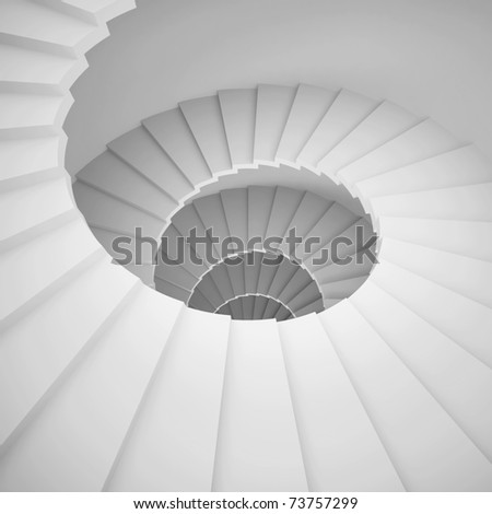 White Spiral Staircase Background - stock photo