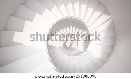 White spiral stairs in sun light abstract 3d interior - stock photo