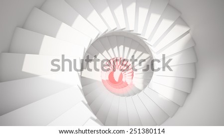 White spiral stairs in sun light and red center abstract 3d interior - stock photo