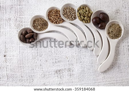 white spoon with curve fill up with spices - stock photo