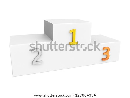 White sport podium with first, second and third places on a white background - stock photo