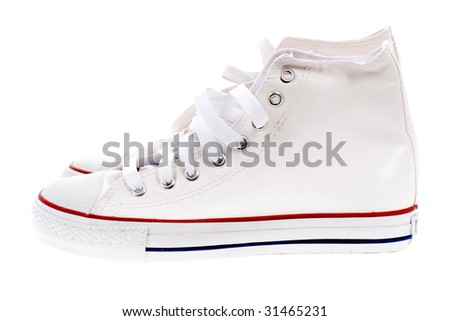 white sport shoes - stock photo