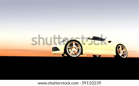 white sports car / sportscar at sunset / sunrise with copy space - stock photo