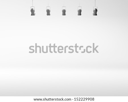 white spotlight background with lamps - stock photo
