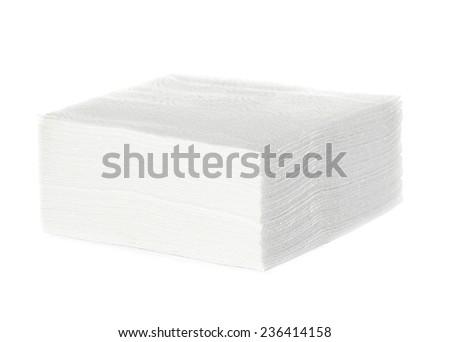 White square bar napkins isolated - stock photo