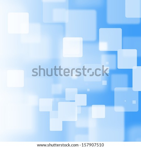 White square bokeh on blue background - stock photo