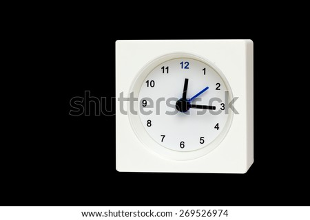 White Square clock isolated on Black background. Time Twelve and fifteen o'clock - stock photo