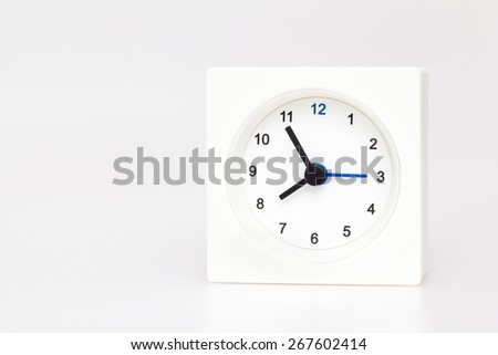 White Square clock isolated on white background. Time Fifty-eight o'clock - stock photo