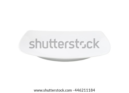 white square dinner plate without rim - stock photo