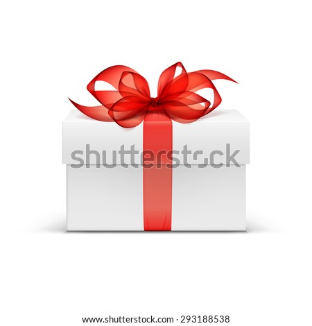 White Square Gift Box with Red Ribbon and Bow Isolated on Background