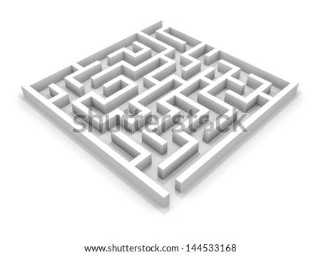 White square maze. 3D illustration. - stock photo