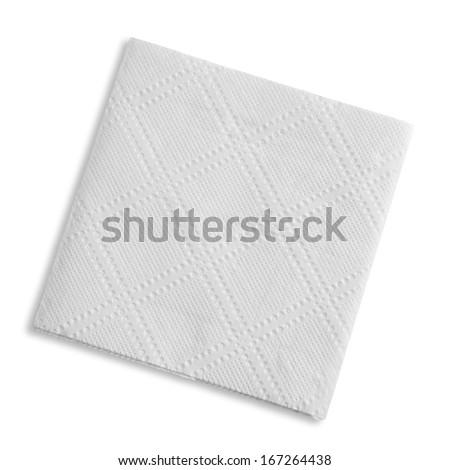 White square napkin, studio isolated - stock photo