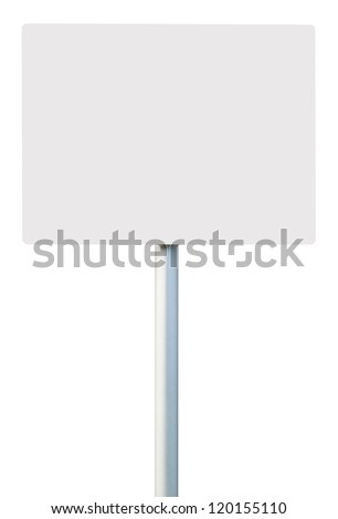 white square sign on post pole (isolated on white background, ready for your design) - stock photo