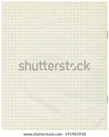 White squared paper sheet background ,textured background, paper background , school exercise book - stock photo