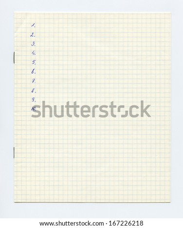White squared paper sheet texture or background, blank work list