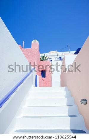 White staircase at Santorini island,Greece - stock photo