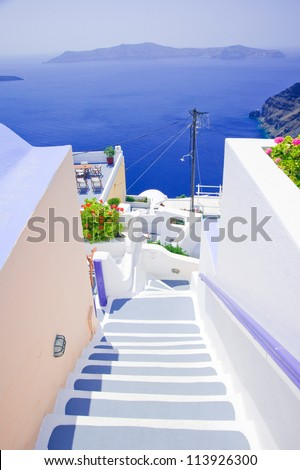 White staircase at Santorini island,Greece - stock photo