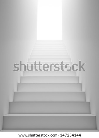 White Staircase to the Exit - stock photo