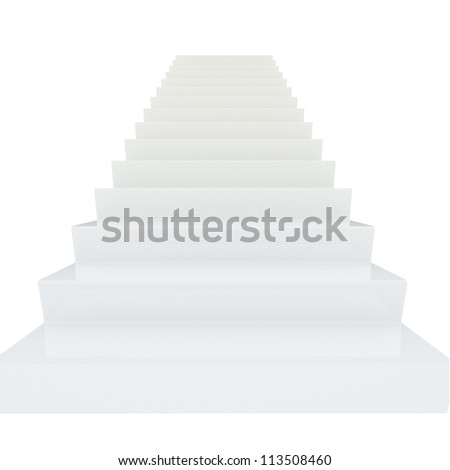 White Staircase With Golden Key - stock photo