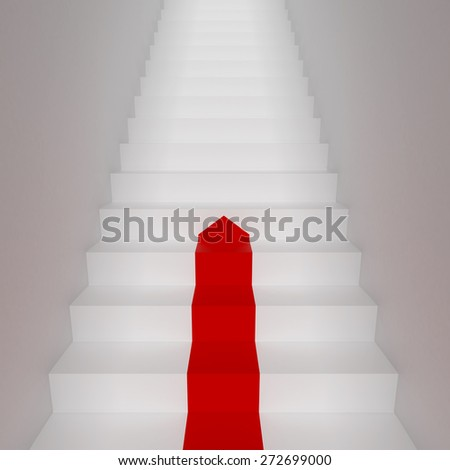 White staircase with red arrow. 3d illustration - stock photo
