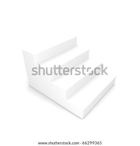 White staircase with shadow on white background - stock photo