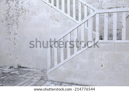 white stairway. - stock photo