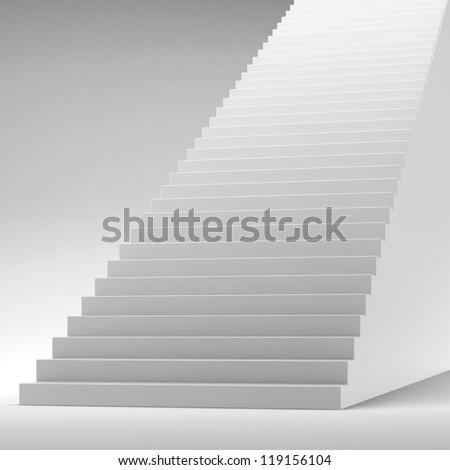 White stairway isolated on white - stock photo
