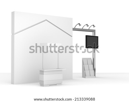 white stall or booth in a trade show. 3d render