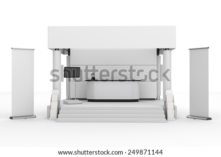 white stand or booth in a trade show. 3d render - stock photo