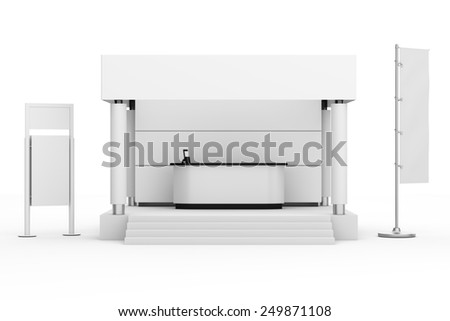 white stand or booth with flag in a trade show. 3d render - stock photo