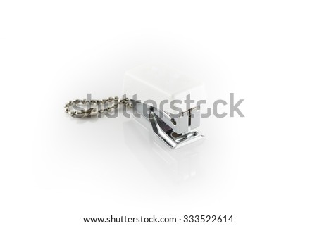 white stapler isolated on white background