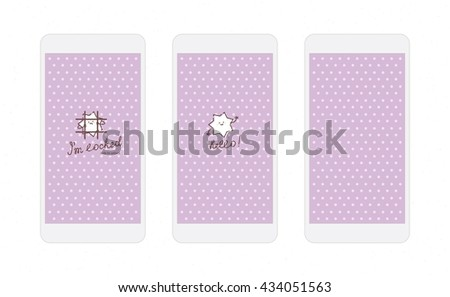 White star on lilac background screens for mobile phone app with funny star character