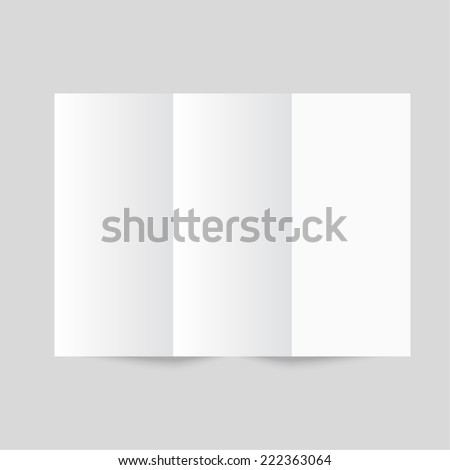 White stationery: blank trifold paper brochure on gray background. Cover for your design - stock photo