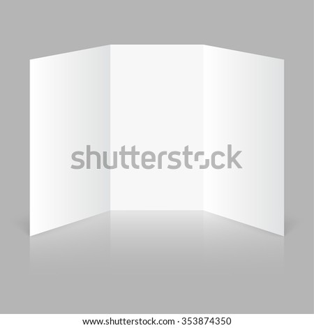 White stationery blank trifold paper brochure on gray background. Cover for your design - stock photo
