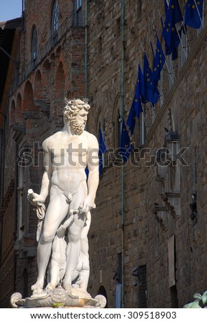 White statue in Florence, Tuscany, Italy, side view