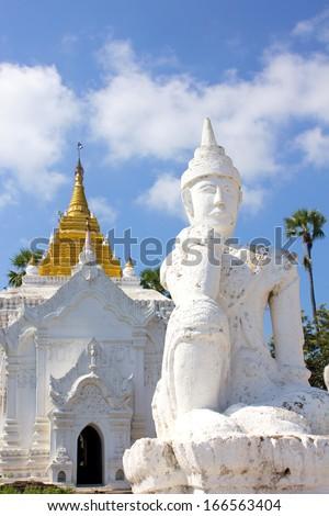 white statue in front of Settawaya pagoda in Mingun, Myanmar(Burma)  - stock photo