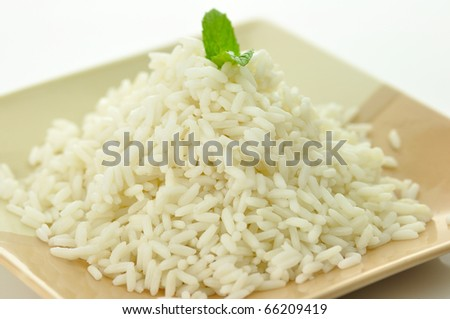 White steamed rice in a dish close up